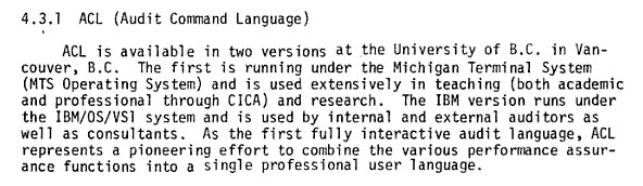 Text about the Audit Command Language at UBC