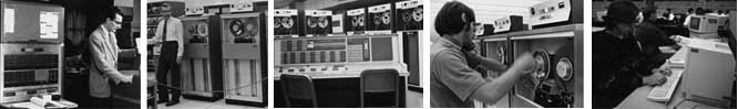 A ribbon of five photographs (l to r): IBM650 in Statistical Research Lab, Robert Bartels in Computing Center, IBM 7090 console, North University Building, Operations staff mounting a tape in Computing Center and student in Church Street computing site